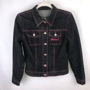 Guess Black and Pink Denim Jacket